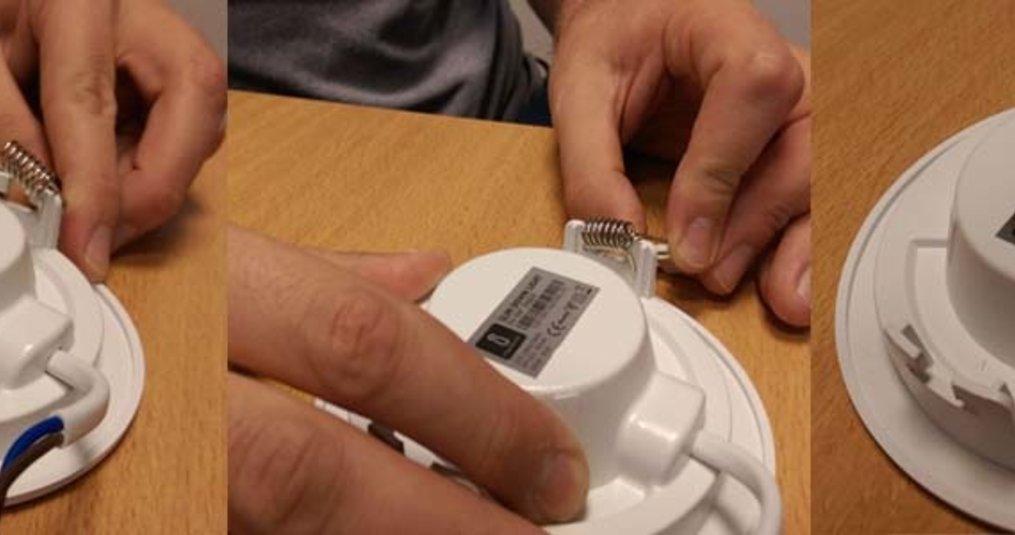 De veertjes van LED Slim Downlight Basic monteren