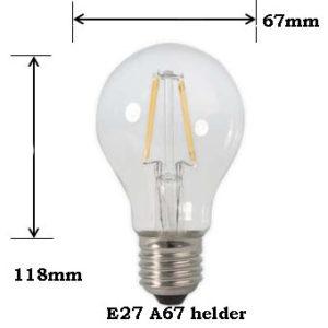 LED Filament A67 8W E27 2700K Dimbaar