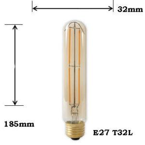 LED Filament Amber T32L E27 2100K 4W Dimbaar