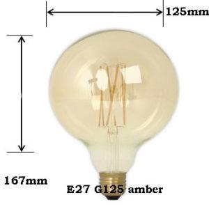 LED Globe XL G125 Amber 2100K E27 4W Dimbaar