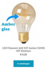LED Filament A60 E27 Amber 2100K 4W Dimbaar