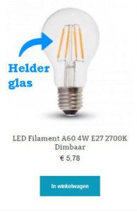 LED Filament A60 4W E27 2700K Dimbaar