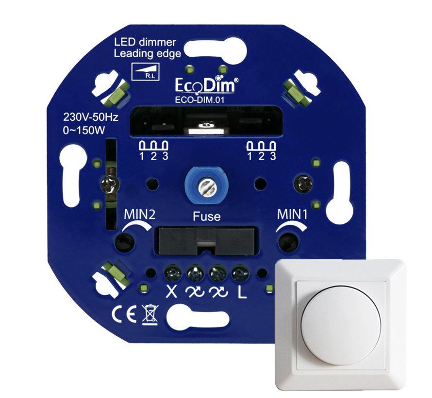 LED Inbouwdimmer - Universele Dimmer 0-150W Fase Afsnijding - Min/Max-stand - Inclusief afdekraam en draaiknop