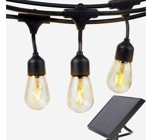 Solar Feestverlichting Prikkabel 15 Meter 10 Lampen op Zonne-energie / Zonnepaneel