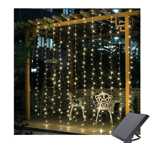 Specilights LED Lichtgordijn 3*3 meter op Zonne-energie - 304 Lampen - Extra warm wit - Waterdicht