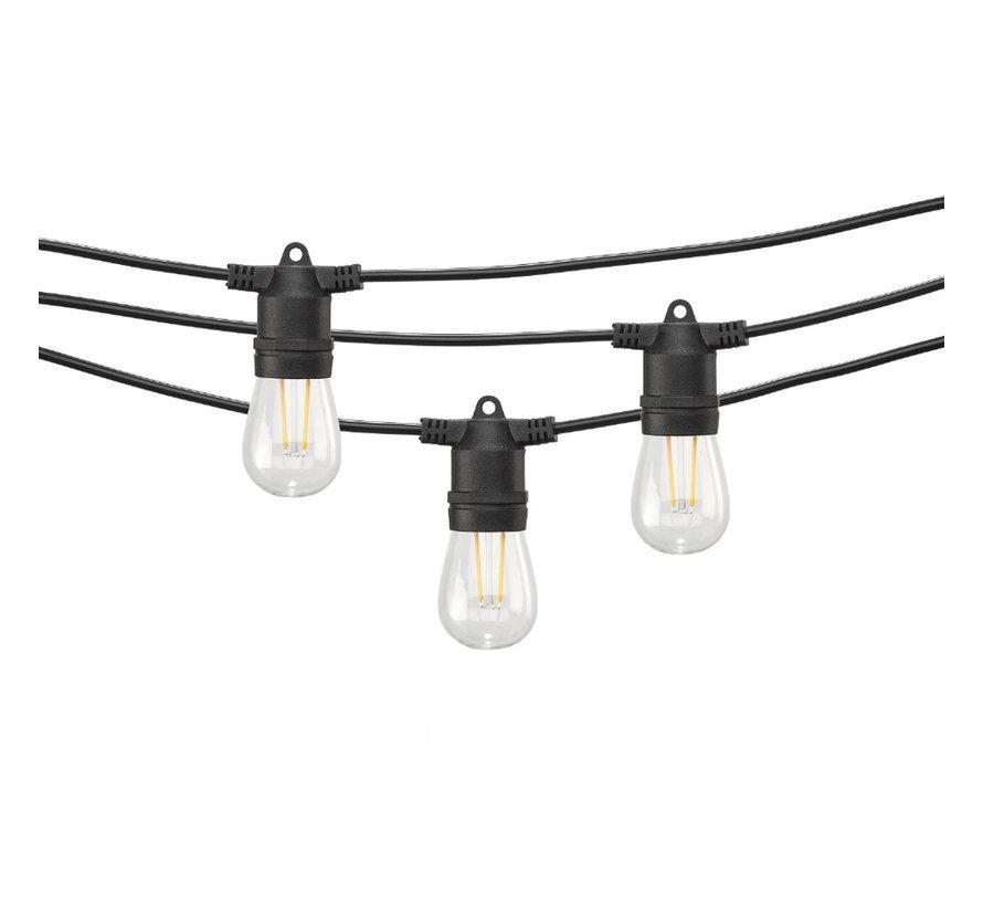 Feestverlichting Prikkabel 10 Meter 10 Lampen met Stekker - Doorkoppelbaar - Inclusief S14 Filament Lampen