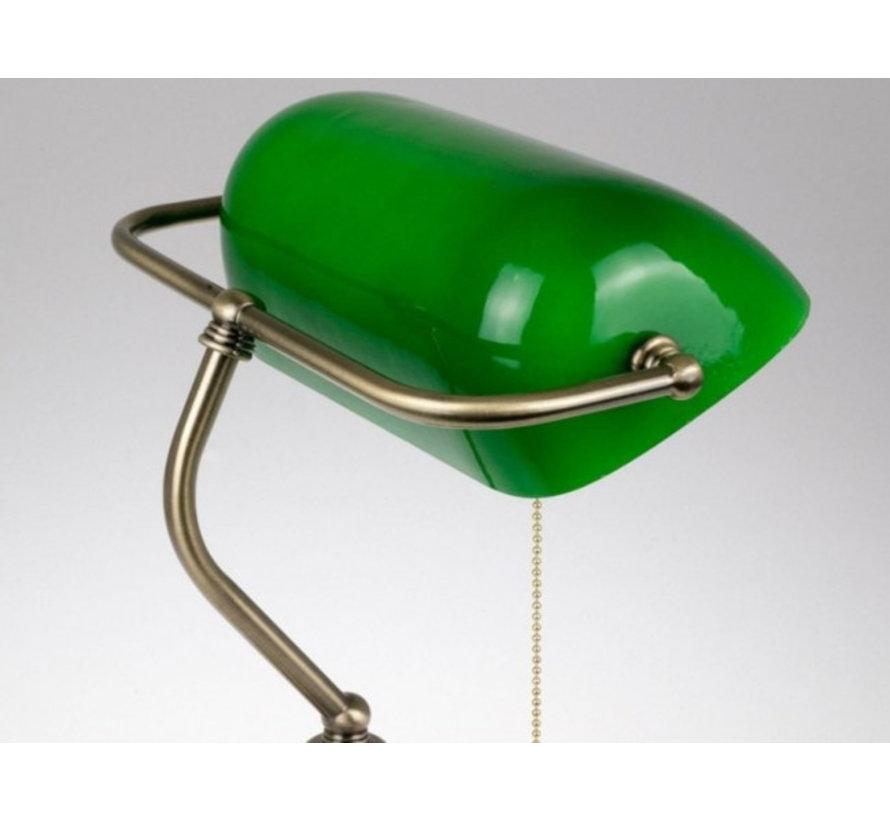 Notarislamp - Groene Bureaulamp inclusief Trekschakelaar - Bankierslamp met E27 fitting