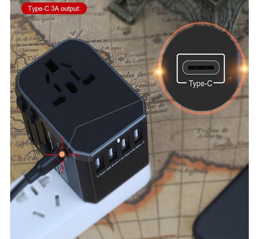 Traveladapter / Wereldstekker 3.0 - Geschikt voor meer dan 150 landen - Kortsluitbeveiliging