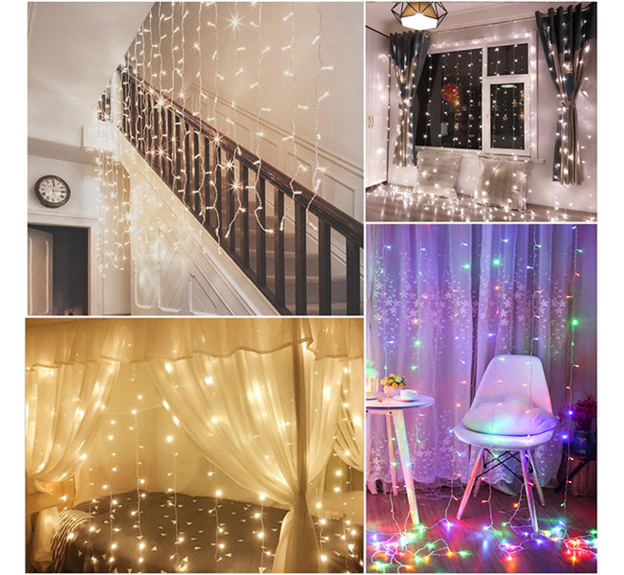LED Lichtgordijn 3*3 meter met stekker - 304 Lampen - Extra warm wit - 8 standen - Waterdicht