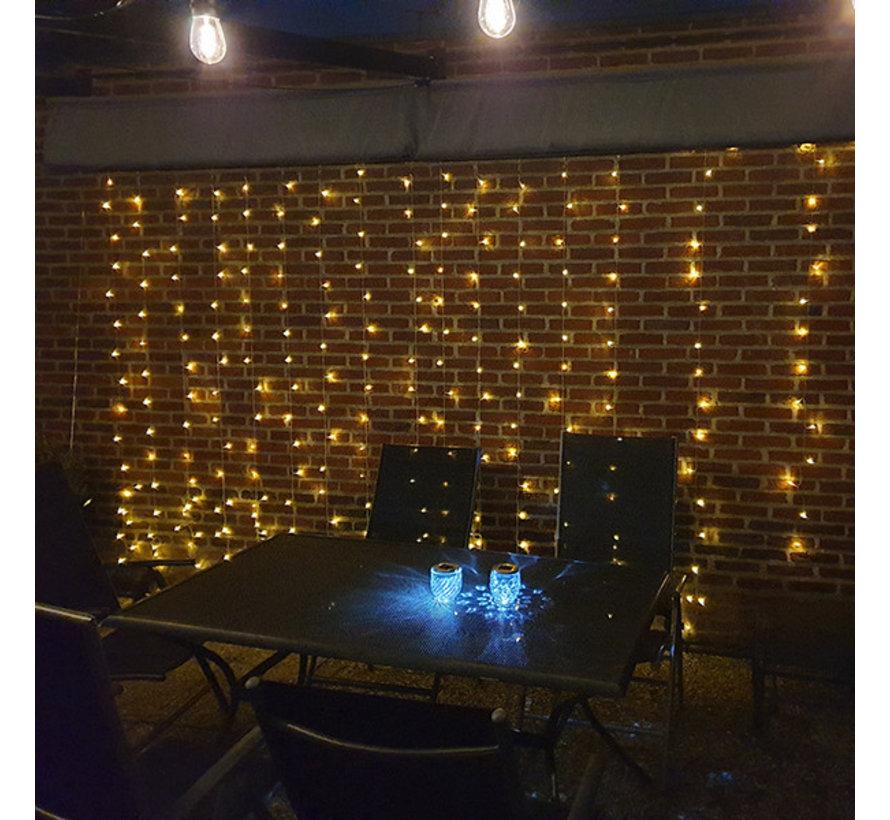 LED Lichtgordijn 3*3 meter op Zonne-energie - 304 Lampen - Extra warm wit - Waterdicht