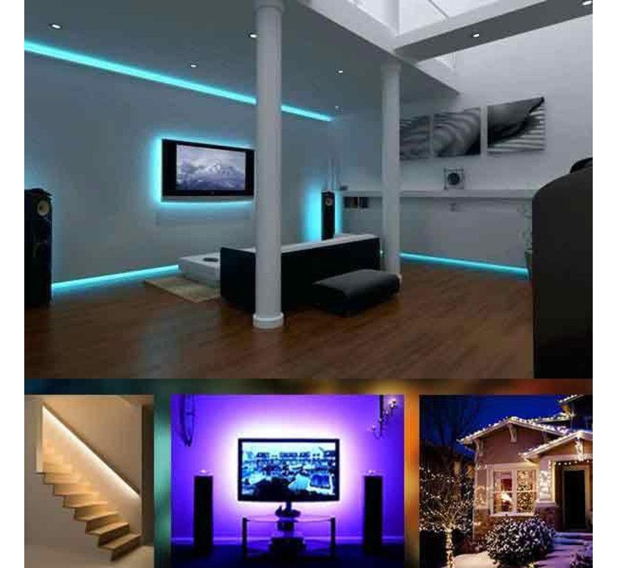Smart LED strip IP65 RGB WiFi - Spraakbediening via Alexa of Google Home - Plug&Play - 5 Meter - Met afstandsbediening