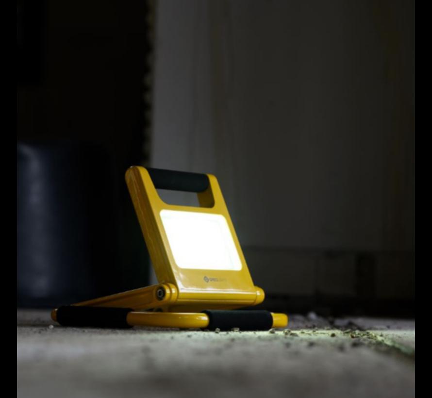 10W LED Acculamp Slim - Vouwbare Bouwlamp met Accu - 2 lichtstanden - IP54 Waterdicht