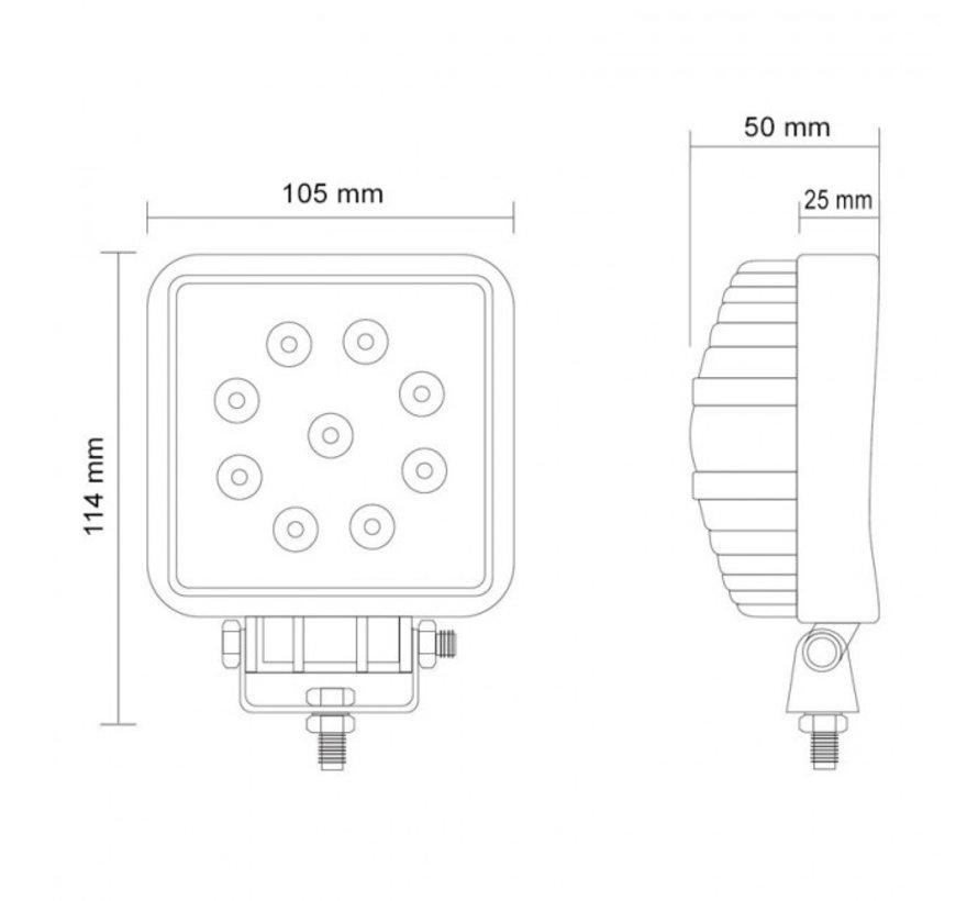 48W 12V-24V Werklamp Vierkant EMC voor Voertuigen