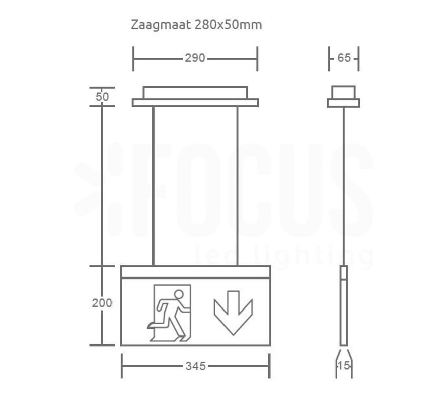 LED Noodverlichting Vluchtwegverlichting pendant inbouw 2W - Inclusief Pictogrammen