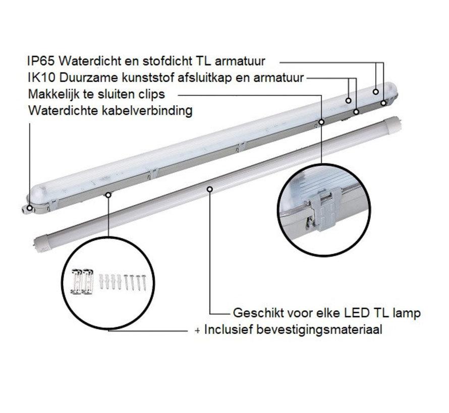 Waterdicht tweevoudig IP65 LED TL armatuur 150cm - Kant en klaar voor twee led tl buizen