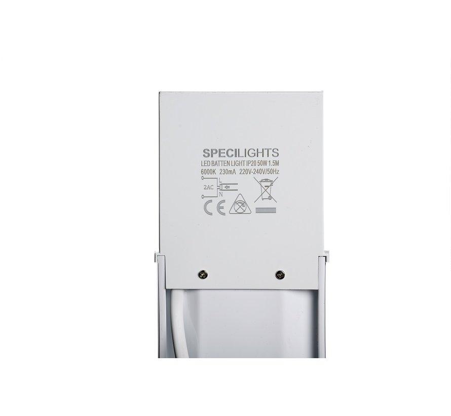 LED Batten Armatuur 150cm 50W 4000K/6000K met Bevestigingsmateriaal