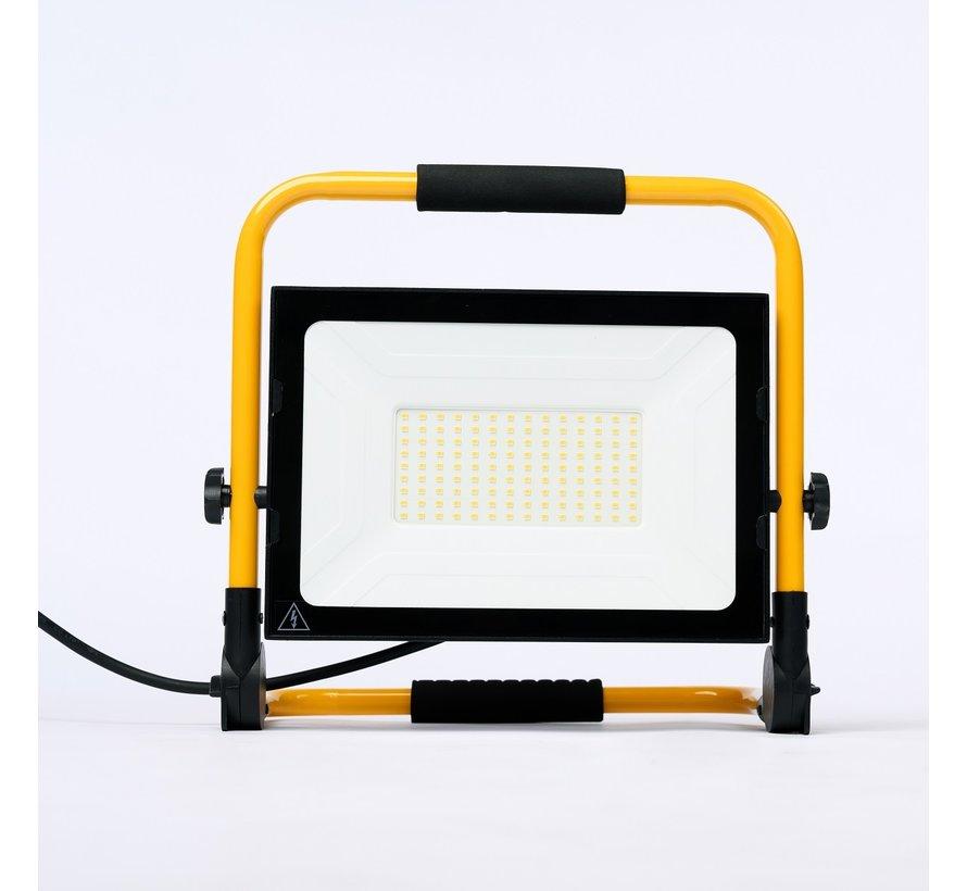100W LED Bouwlamp met grondstatief + 3 meter kabel met stekker - Waterdicht IP65