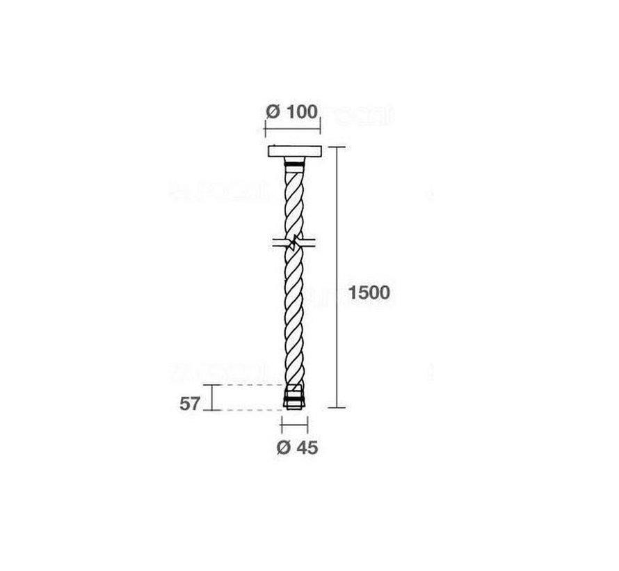 Touw Pendel E27 - Scheepstouw 1,5M Knoopbaar inclusief Fitting en Plafondkap
