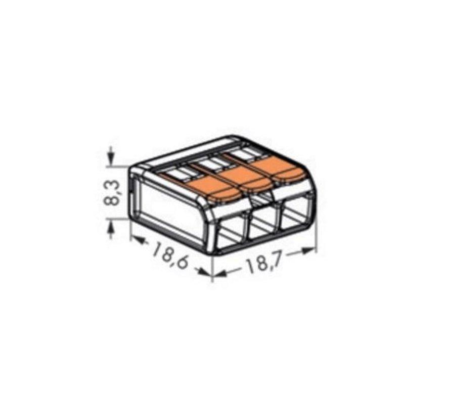 Wago lasklem 0,2 - 4mm² 3 polig - Verbindingsklem 221-413 doos met 50 stuks