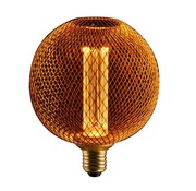 LED Cage Globe G125 - Dimbare lamp 3W - Goud metaal - LED Kooldraadlamp