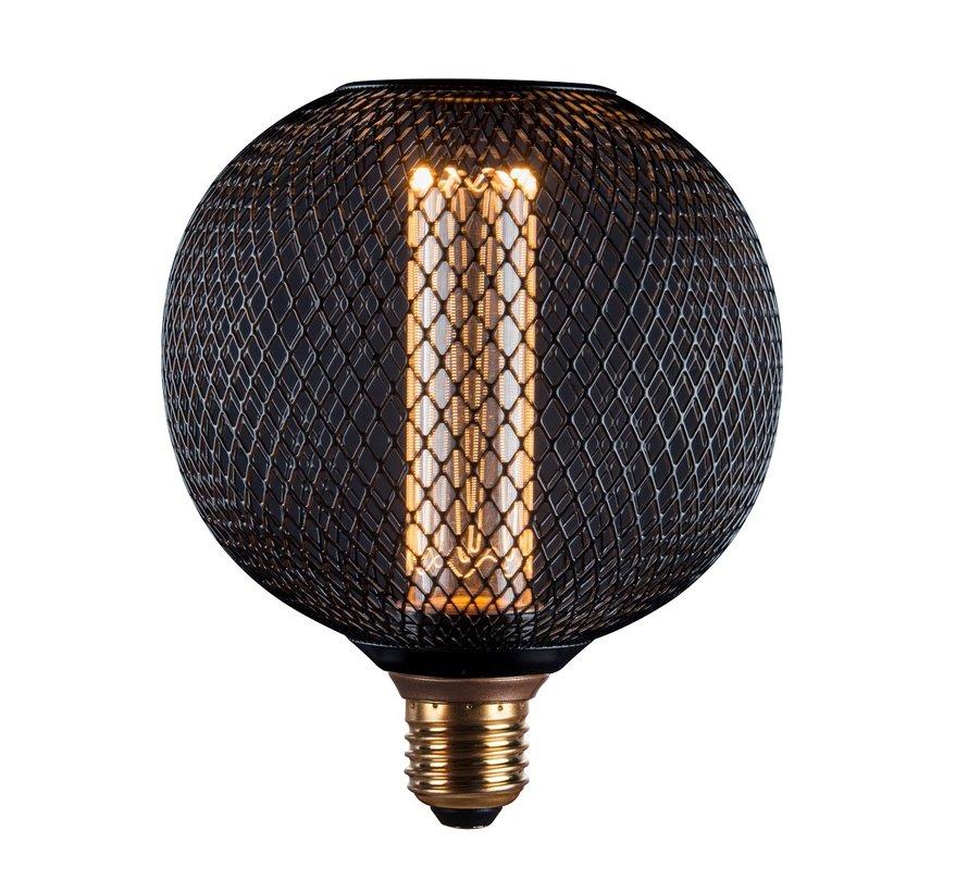 LED Cage Globe G125 - Dimbare lamp 3W E27 - Zwart metaal - LED Kooldraadlamp