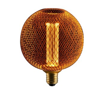 LED Cage Globe G125 - 3-Stap dimbare lamp 3W - Goud metaal - LED Kooldraadlamp