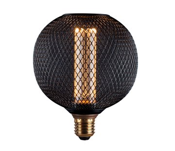LED Cage Globe G125 - 3-Stap dimbare lamp 3W - Zwart metaal - LED Kooldraadlamp