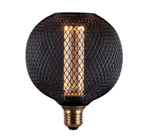 LED Cage Globe G125 - 3-Stap dimbare lamp 3W E27 - Zwart metaal - LED Kooldraadlamp