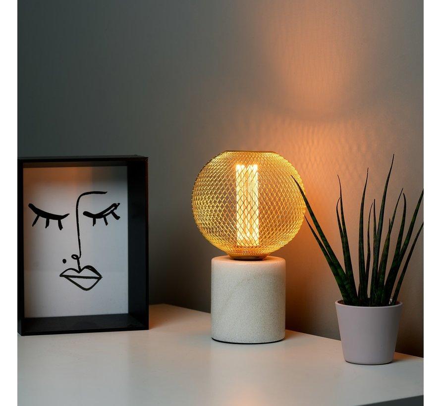 LED Cage Globe G125 - 3-Stap dimbare lamp 3W E27 - Goud metaal - LED Kooldraadlamp