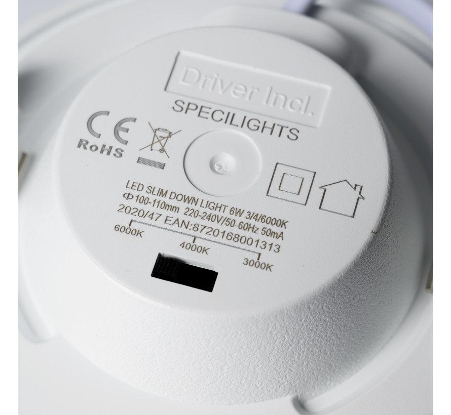LED Downlight 6W Lichtkleur instelbaar - Zaaggat 100-110MM - CCT - Inbouw