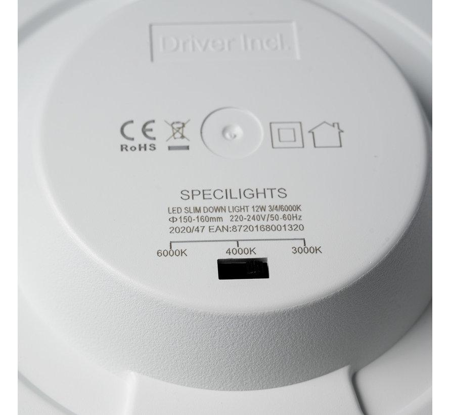 LED Downlight 12W Lichtkleur instelbaar - Zaaggat 150-160MM - CCT - Inbouw