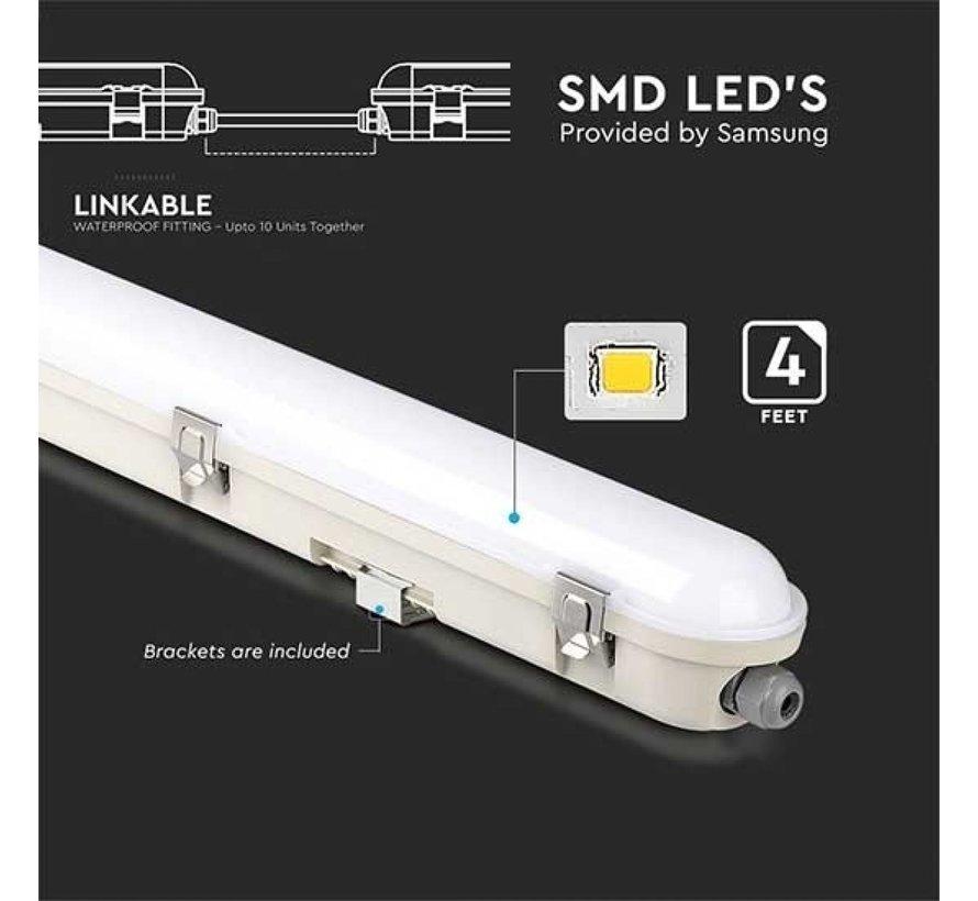 Waterdicht IP65 LED armatuur opbouw met noodunit 150 cm - 48W 120 LM/W - Koppelbaar tot 10 armaturen
