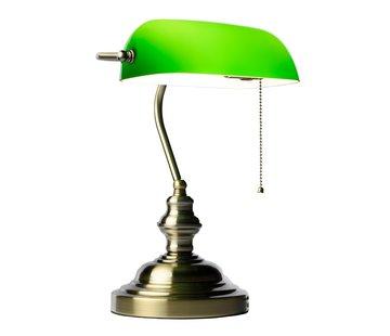Notarislamp - Groene Bureaulamp inclusief Lamp en Trekschakelaar - Bankierslamp met E27 fitting