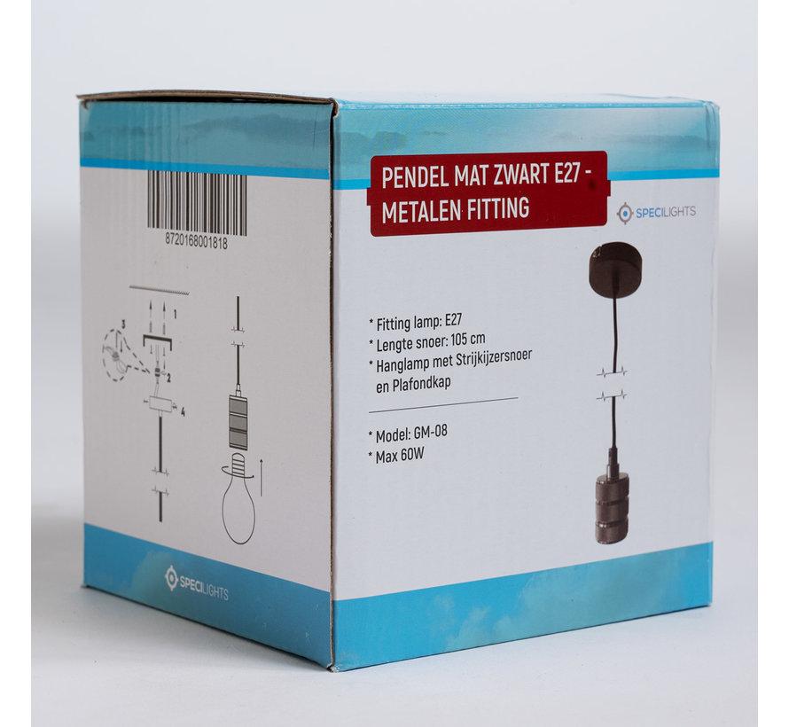 Pendel Mat Zwart E27 - Metalen fitting - Hanglamp met Strijkijzersnoer en Plafondkap