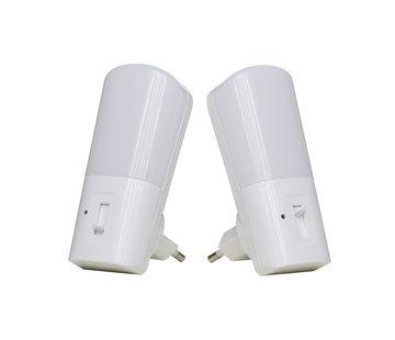 LED Nachtlampje Stopcontact 2 stuks volledig dimbaar - Voorzien van lichtsensor - Warm wit licht
