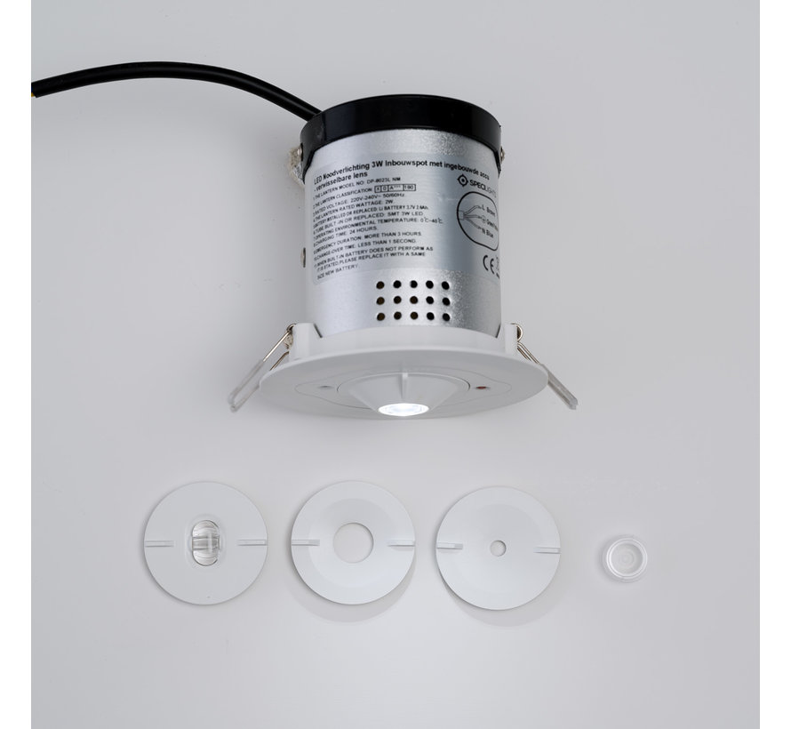 Lenzen set voor led noodverlichting inbouwspot 3W