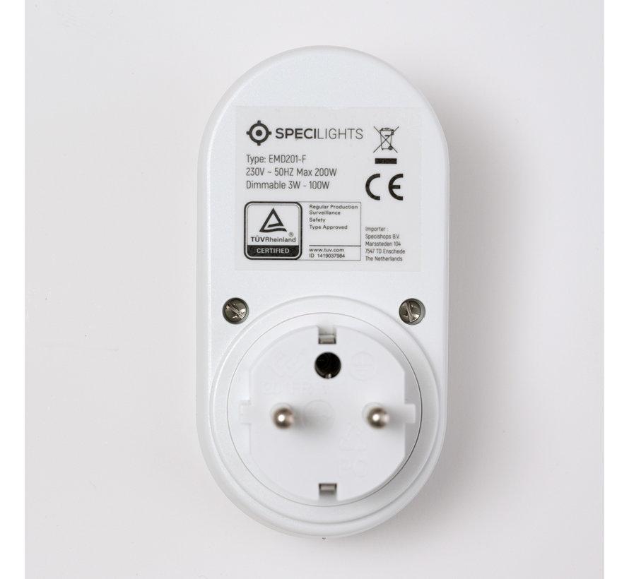 Stekkerdimmer geschikt voor België Type E - LED 3W - 100W met Draaiknop - Gloeilamp/Halogeen