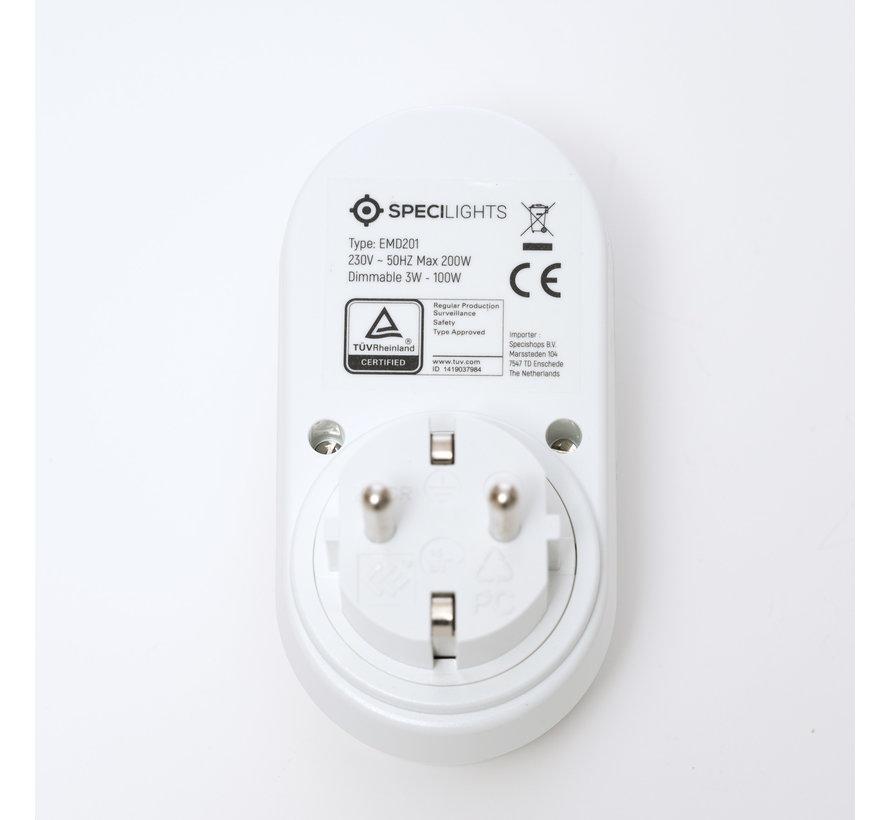 Stekkerdimmer geschikt voor LED 3W - 100W met Draaiknop - Gloeilamp/Halogeen