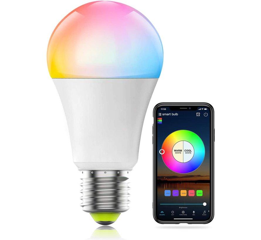 WiFi Smart RGB+CCT E27 LED Lamp - Dimbaar - 9W - 800 Lumen - 100% functioneel met Google/Alexa Home