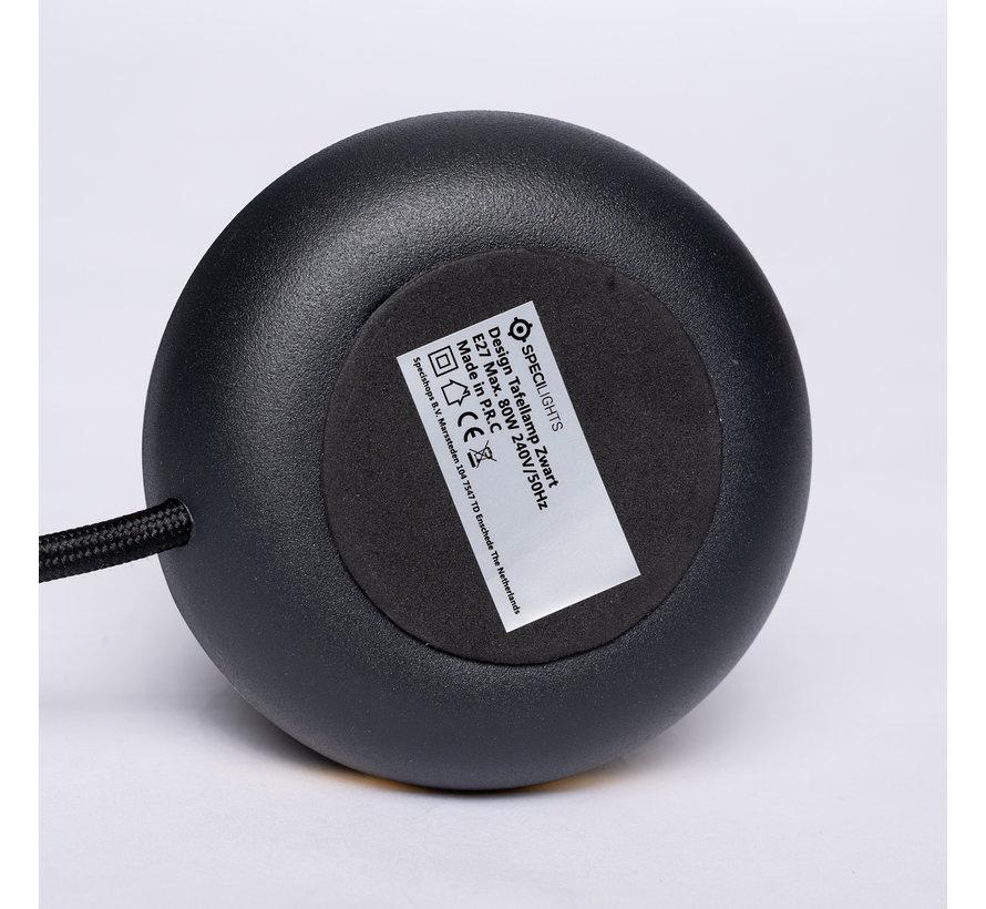 Design Tafellamp Zwart - Gouden Ring - E27 fitting met 1,5 meter kabel met stekker en schakelaar