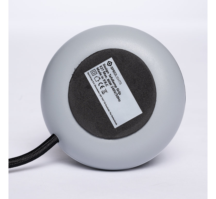 Design Tafellamp Grijs - Zilveren Ring - E27 fitting met 1,5 meter kabel met stekker en schakelaar