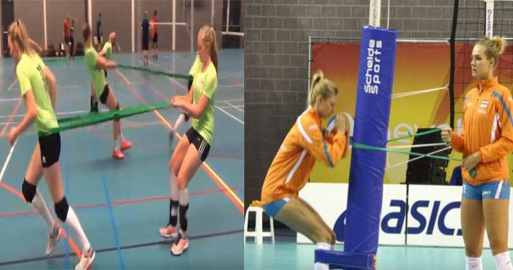 Dynabands en Powerbands voor een volleybaltraining