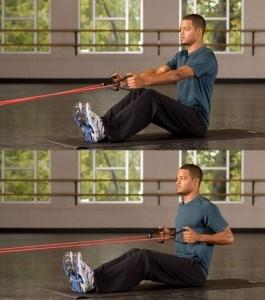 row uitgevoerd met fitness elastiek