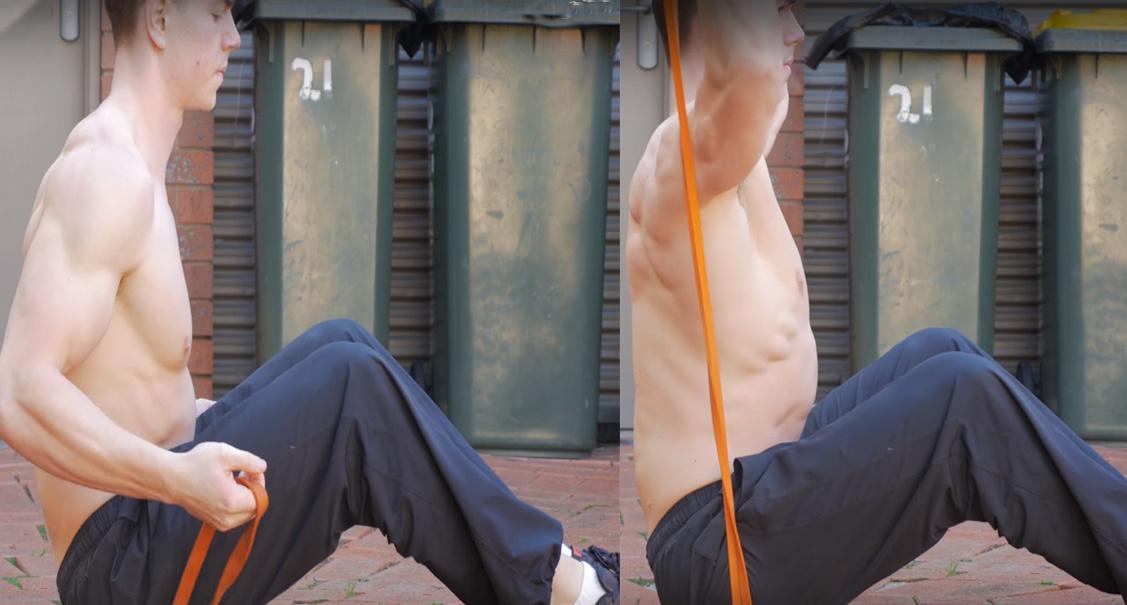 overheadpress met fitness elastiek