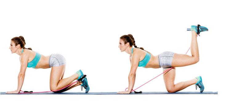 donkey kicks squat elastiek