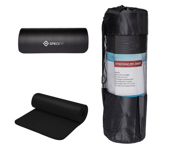Fitnessmat Pro Zwart - Yogamat met tas en draagriem - NBR Foam 1,5 cm dik - 180 cm x 60 cm x 1,5 cm