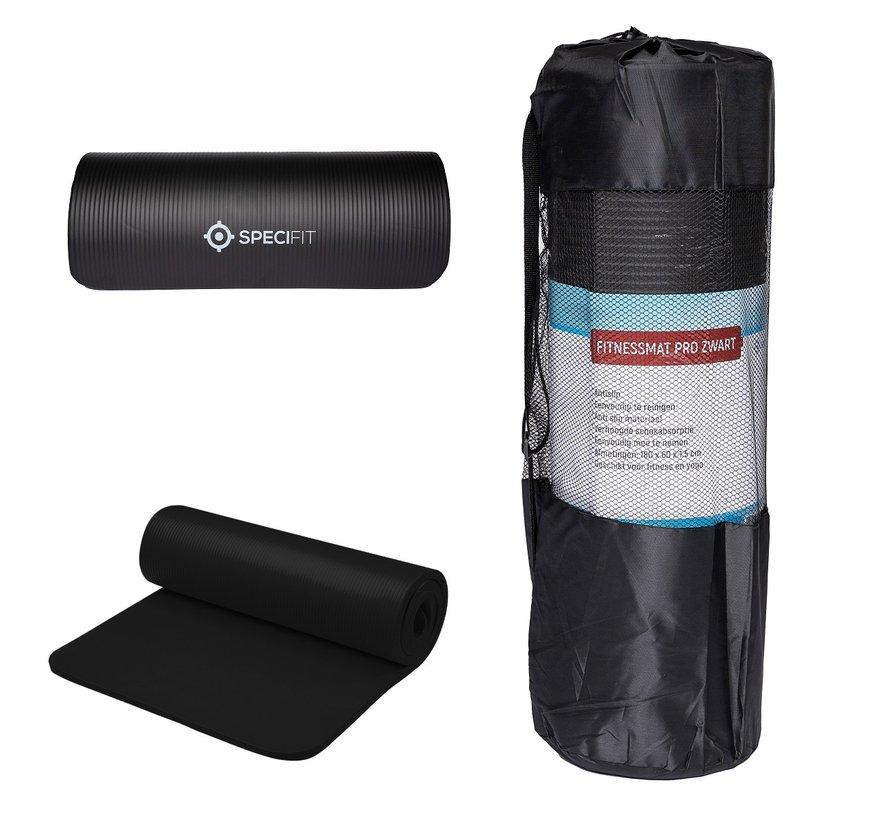 Fitnessmat Pro Zwart - Trainingsmat met tas en draagriem - NBR Foam 1,5 cm dik