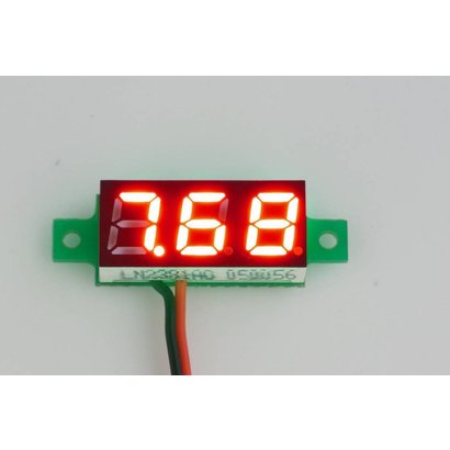 """Mini Voltmeter Rood 2 Draads 0.28"""""""