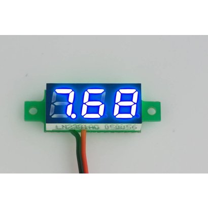 "Mini Voltmeter Blauw 2 Draads 0.28"""