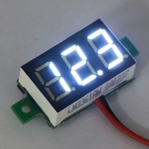 "Mini Voltmeter Wit 2 Draads 0.36"""